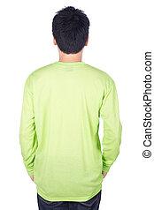 man, in, groene, lange mouw, t-shirt, vrijstaand, op wit, achtergrond, (back, side)