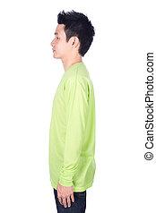 man, in, groene, lange mouw, t-shirt, vrijstaand, op wit, achtergrond, (side, view)