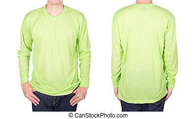 man, in, groene, lange mouw, t-shirt, vrijstaand, op wit, achtergrond