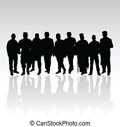 man in group vector silhouette black color