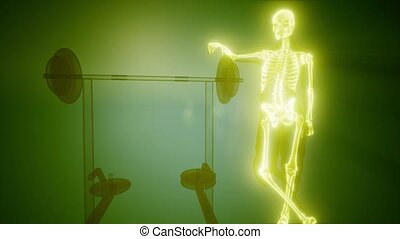 man in gym room with visible bones