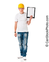 Man in hard hat with clipboard