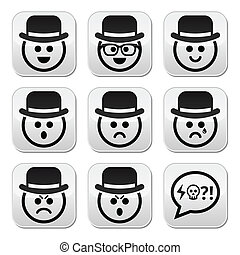 Man in hat faces vector buttons set - Collection of male ...