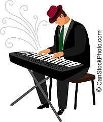 Man in hat play on classical instrument