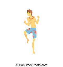 Man in Hawaiian lei with bright colorful flowers dancing cartoon vector illustration