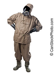 Man in Hazard Suit wondering