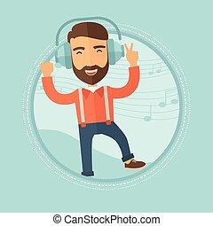 Man in headphones dancing vector illustration.