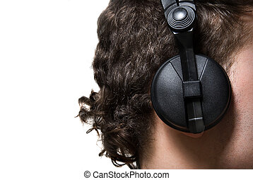 man in headphones listening to music isolated on white