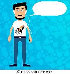 Man in headphones listens to music and says. The concept of a character with a cloud of letters. Vector image.