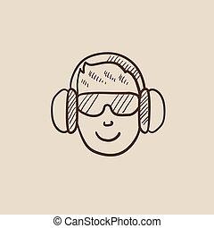Man in headphones sketch icon.