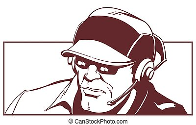 Man in headphones with microphone. Stock illustration.