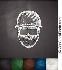 man in helmet icon