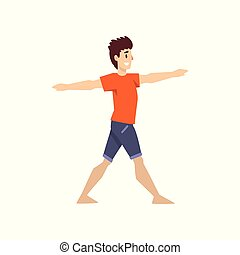 Man in hero pose, young man practicing yoga vector Illustration on a white background