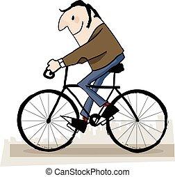 man, in het park, rijdende fiets