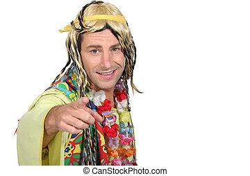 Man in hippie costume