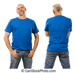 Man in his forties wearing blank blue shirt - Photo of a man...