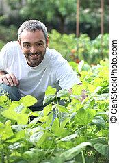 Man in his garden
