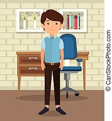 man in home Office place house vector illustration design