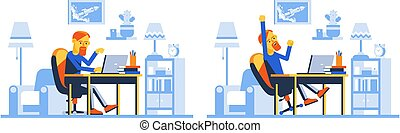 Man in home workspace with laptop on the background of room interior