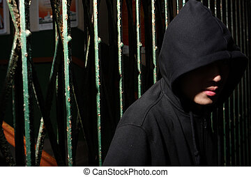 man in hood at night, want to break the shutter