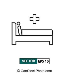 Man in hospital bed icon. Outline style. Vector illustration EPS 10