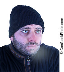Man in hypothermia on a white background