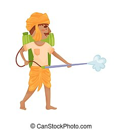 Man in Indian clothes with a sprayer. Vector illustration.