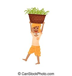 Man in Indian clothing carries on his head a basket with sprouts. Vector illustration.