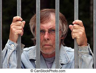 man in jail - main in jail looking through bars