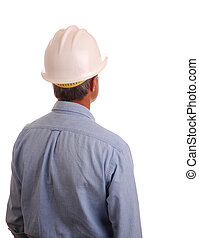 Man in Hardhat and Work Shirt isolated over white