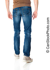 Man in jeans on white