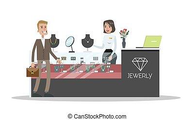 Man in jewelry shop