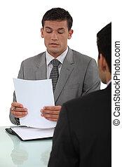 Man in job interview