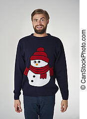 man, in, kerstmis, verbindingsdraad, met, een, sneeuwpop