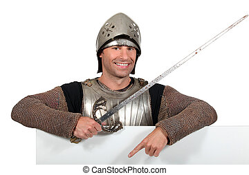 Man in knights costume