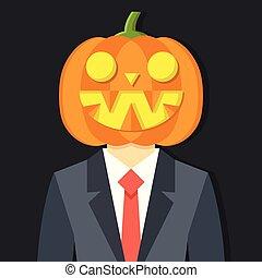 man, in, kostuum, met, pompoen, head., halloween, concept., vector, illustratie