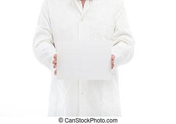 Man in labcoat holding a small poster