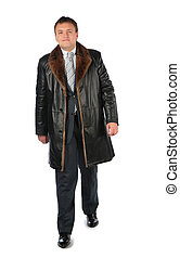 Man in leather coat