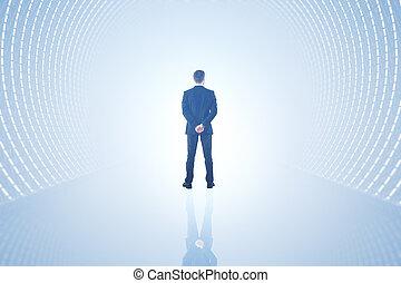 Man in light tunnel