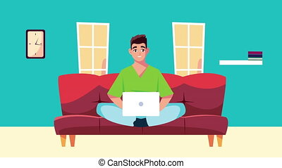 man in livingroom work at home campaign animation