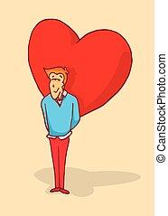 Man in love hiding a huge heart or feelings