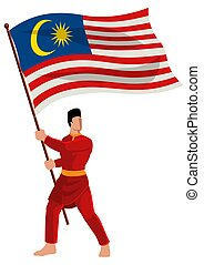 Man in malay traditional costume holding the flag of Malaysia