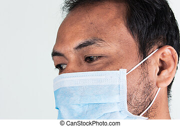 man in mask on white background