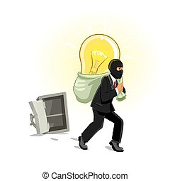 Man in mask stealing lamp from safe