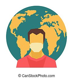 Man in medical mask on Earth background