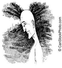 man in meditation - drawing sketch illustration of man in...