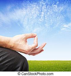 man in meditation