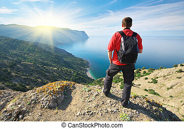 Man in mountain.