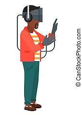 Man in oculus rift. - An african-american man wearing a...