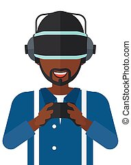 Man in oculus rift and console in hands. - An...